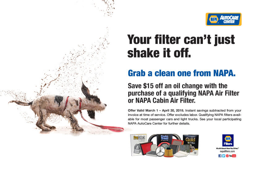 Get $15 off oil change when you purchase a NAPA air filter