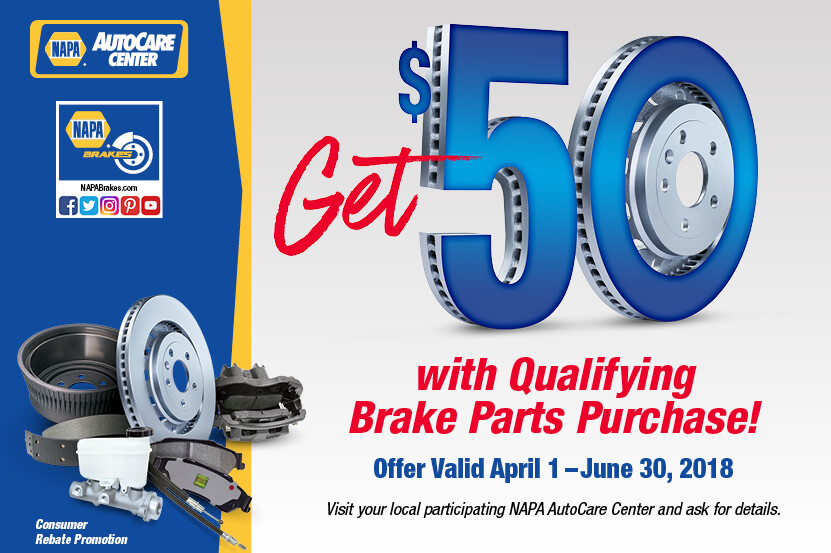 NAPA $50 rebate with purchase of $250 in NAPA brake parts