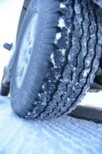 Snowy tire in the cold